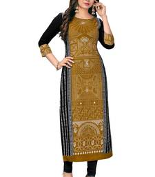 Women's Gold & Black Pure Cotton Printed Unstitched Kurti Fabric