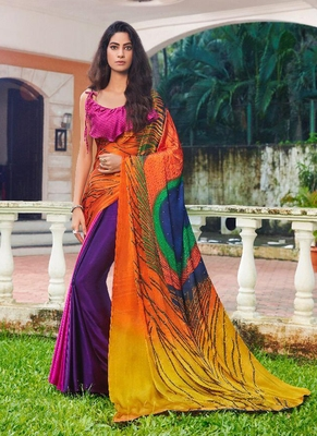 Multicolor plain south silk saree with blouse