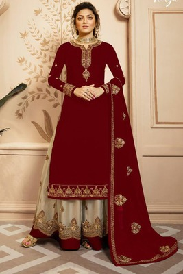 Maroon fancy faux georgette salwar