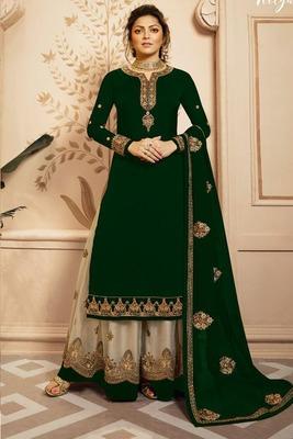Dark Green Fancy Faux Georgette Salwar
