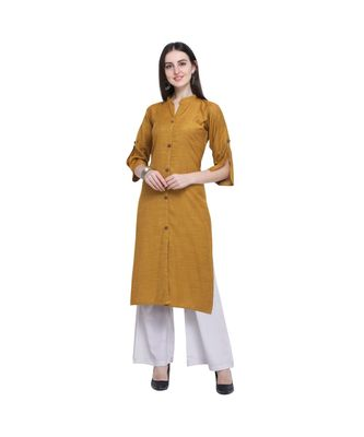 Rayon Slub Straight Women   s Solid Kurta with Palazzo