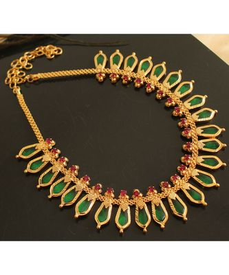 Beautiful Pink Green Nagapadam Kerala Style Designer Necklace