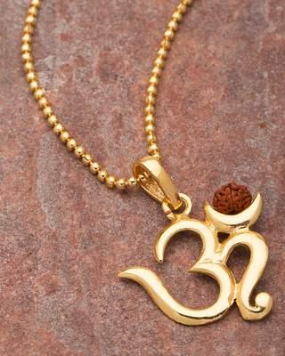 Rudraksha Studded Pendant With 'OM'