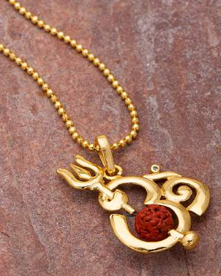 Gold Plated 'OM' Pendant Chain with Rudraksha Bead