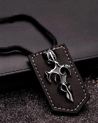 Designer Sword Detailing Pendant With Chain For Men