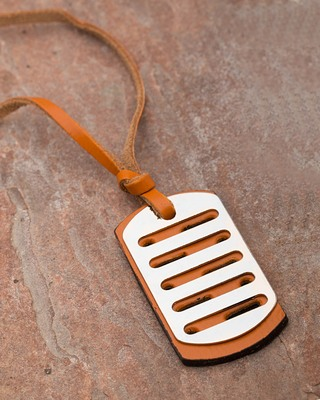 Bar Detailing Pendant With Brown Leather Chain For Men