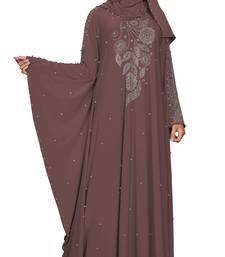 Justkartit Light Violet Color Beads Work Umbrella Kaftan Style Abaya Burkha With Dupatta