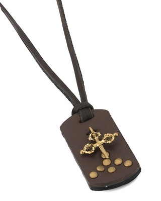 Stylish Celtic Cross on Faux Leather Pendant