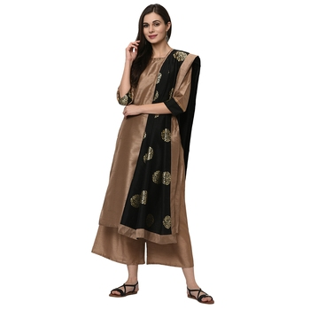 Women's Mashroom Solid Straight Polysilk Kurta Dupatta Palazzo Set