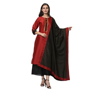 Women's Red Solid Straight Polysilk Kurta Dupatta Palazzo Set