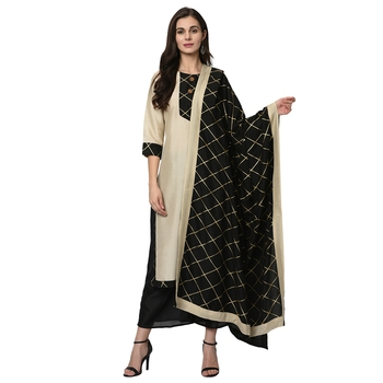 Women's Cream Foil Print Straight Polysilk Kurta Dupatta Palazzo Set