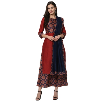 Women's Red Digital Print Straight Polysilk Kurta Dupatta Palazzo Set