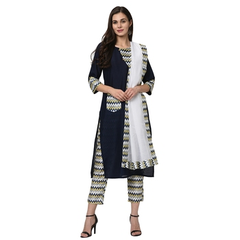 Women's Navy Blue Digital Print Straight Polysilk Kurta Dupatta Pant Set