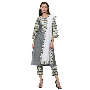Women's Gray Digital Print Straight Polysilk Kurta Dupatta Pant Set