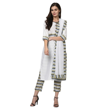 Women's White Digital Print Straight Polysilk Kurta Dupatta Pant Set
