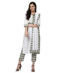 Women's White Digital Print Straight Polysilk Kurta Dupatta Pant Set