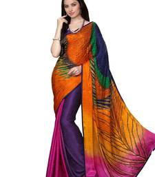 Buy multicolor printed crepe saree with blouse black-friday-deal-sale online