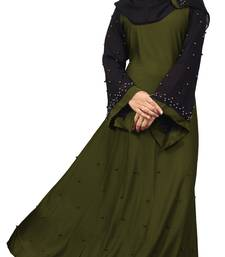 Justkartit Olive Color Lycra Stretchable Abaya Burqa For Women With Hijab Scarf