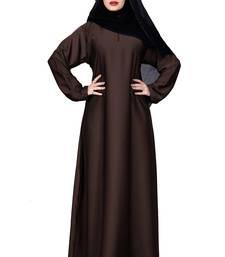 Justkartit Brown Color Plain Nida Abaya Burka With Chiffon Hijab Scarf For Women