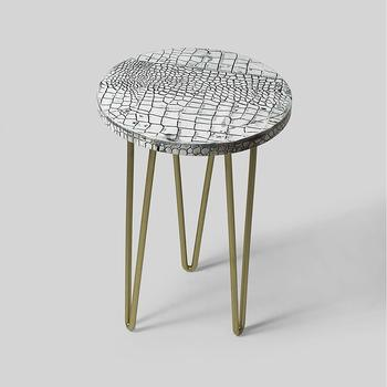 Garden Table with Steel Hairpin Legs for Balcony,Living Room and Hallway Space Décor Table