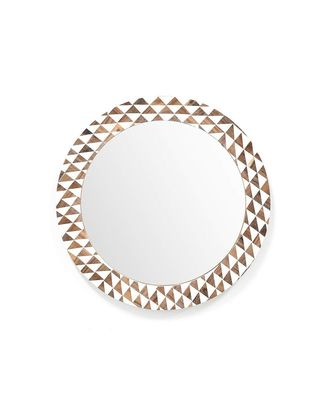 Brianna`s Pier Glass Mirror Wall Hanging Wooden Wall Decor Round Shape for Living Room, Bedroom, Kids Room