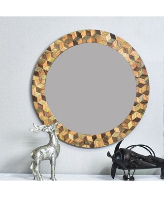 Third DimensionalLobe Mirror Wall Hanging Wooden Wall Decor Round Shape for Living Room, Bedroom, Kids Room