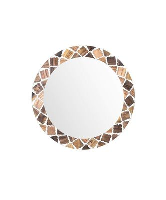 Enlope Di Lis Mirror Wall Hanging Wooden Wall Decor Round Shape for Living Room, Bedroom, Kids Room