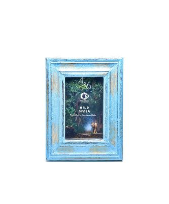 Distressed Blue Cuba Photo Frame Handicraft for Decorations and Room Decor