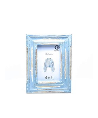 Distressed Blue Zen Photo Frame Handicraft for Decorations and Room Decor