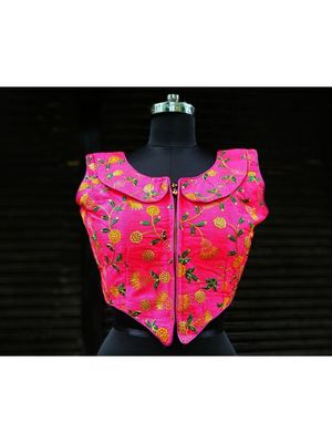 Raw Silk Base Pink Color Embroidered Work Sleeveless Traditional Blouse With Zip At The Front Side