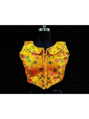 Raw Silk Base Yellow Color Embroidered Work Sleeveless Traditional Blouse With Zip At The Front Side