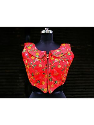 Raw Silk Base Red Color Embroidered Work Sleeveless Traditional Blouse With Zip At The Front Side