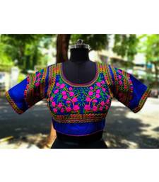 Blue Coloured Based Colourful Embroidery Worked Designer Cotton Blouse