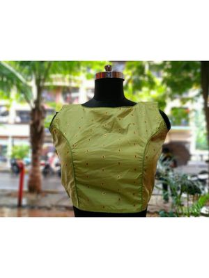 Light Green Colored Bamboo SIlk Zari Fabric With Golden Colored Worked Ethnic Style Sleeveless Blouse