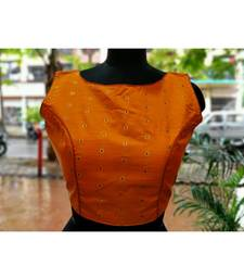 Orange Colored Bamboo SIlk Zari Fabric With Golden Colored Worked Ethnic Style Sleeveless Blouse