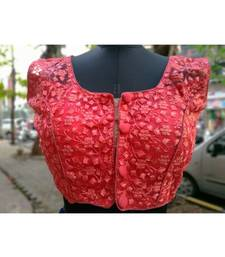 Peach Colored Mono Net Fabric With Embroidered Worked Ethnic Style Sleeveless Blouse