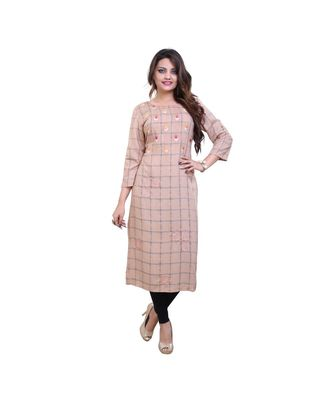 Pink / Peach colour Floral Embroidered Checks Design Rayon Kurta for women