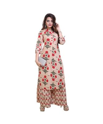 Pink Floral Peach Printed Cotton Kurta & Palazzo set for Women