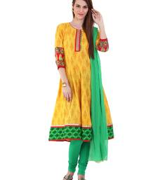 Buy YELLOW embroidered Cotton stitched salwar with dupatta readymade-suit online