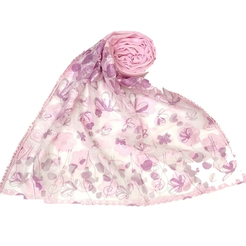 Pink  Digital Flower Printed Hijab  Stole For Women