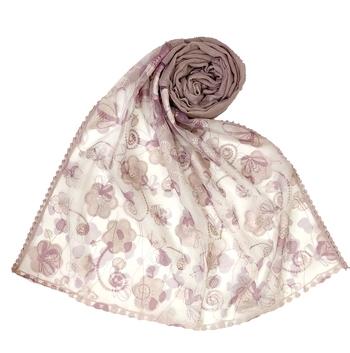 Purple  Digital Flower Printed Hijab  Stole For Women