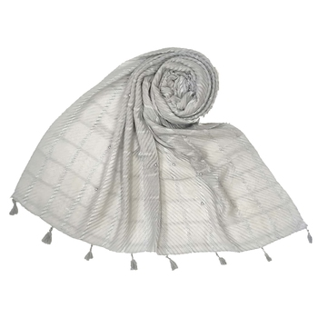 Grey Cotton Box Chekered Fringe's Stole  Stole For Women