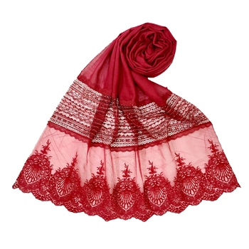 Designer Diamond Work Hijab  Rich Cotton   Maroon