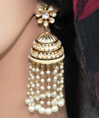 Kundan Jhumka Earrings with Multiple Pearl Strings