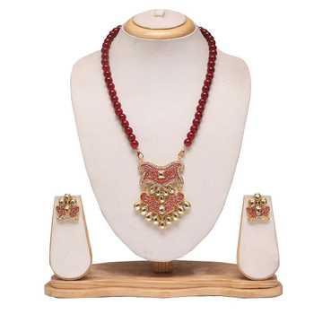 Maroon mala with maroon meenakari work necklace set