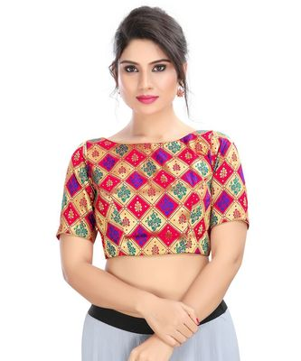 Women's Red Jacquard Readymade Padded Saree Blouse