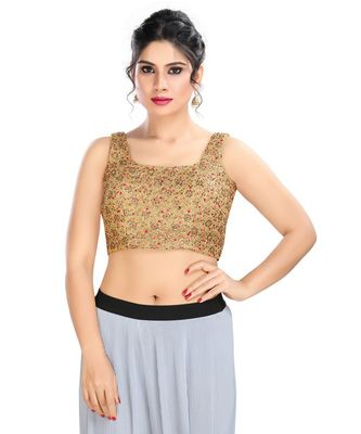 Women's Copper Net Readymade Padded Saree Blouse