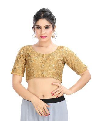 Women's Gold Dupion Silk Readymade Padded Saree Blouse