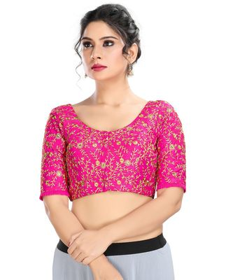 Women's Pink Dupion Silk Readymade Padded Saree Blouse
