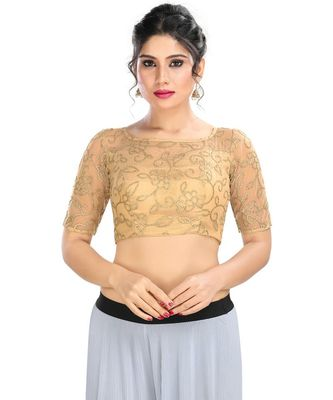 Women's Gold Net Readymade Padded Saree Blouse